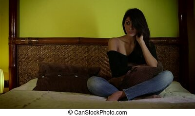 Sad Depressed Beautiful Young Woman - Portrait of pretty...
