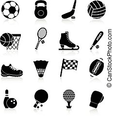 Sport Icons Black - Sport icons black set with basketball...