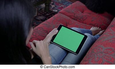 Woman Touching Ipad Green Screen Pc