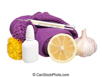 Anti-virus remedies and medicaments isolated on white...
