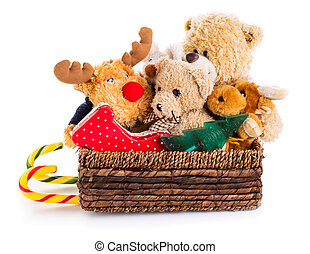 Stuffed animal toys in a christmas sledge
