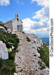 Chapelle  Sveti Jure in Croatia. National park Biokovo.