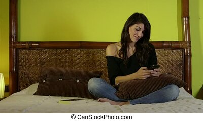 Young Happy Woman Girl Selfie - Young woman taking selfie,...