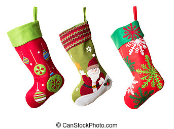 Christmas stocking - Three Christmas stockings isolated on...