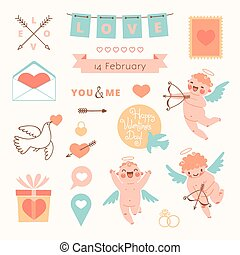 Valentines Day set of elements for design Vector...