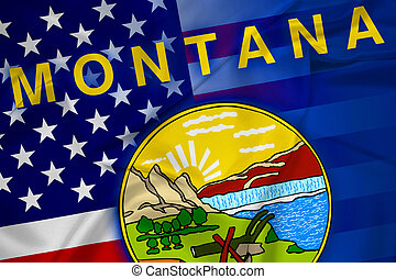 Waving USA and Montana State Flag