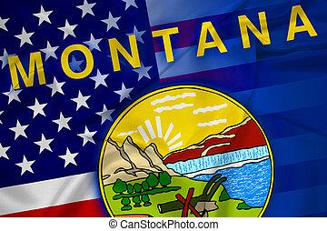 Waving USA and Montana State Flag