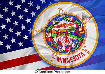 Waving USA and Minnesota State Flag
