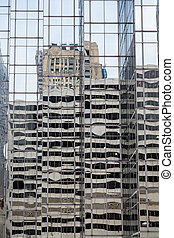 Parking Deck Reflected in Office Tower - Concrete parking...