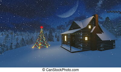 Cozy hut and fir in the mountains - Christmas scenery....