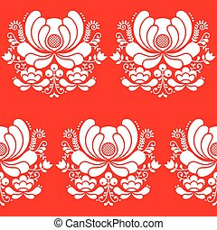 Norwegian folk art seamless white - Vector floral repetitive...