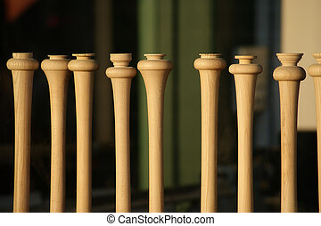 Baseball Bats in Window of Wood Shop - Baseball bats in...