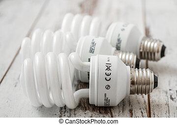 fluorescente, luz, bombillas