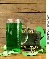 St Patricks Day green beer with shamrock