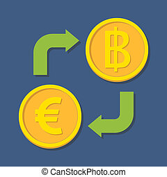 Currency exchange Euro and Baht