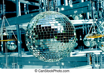 Disco balls background with mirror balls Outdoor view disco,...