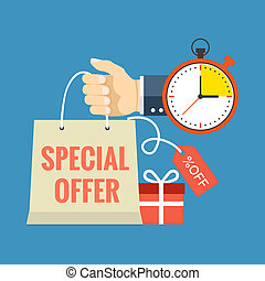 Limited time special offer concept Flat design stylish...