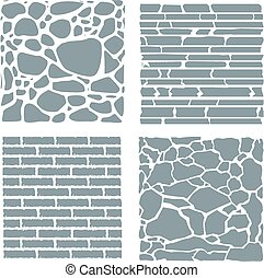 Stone and brick cladding. Vector texture set. - Stone and...
