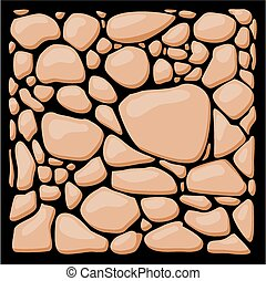 Stone cladding. Vector texture set. - Masonry rubble - Stone...