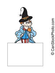 Man with Blank Halloween Banner - Cartoon Man Presenting...