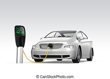 Electric car charging concept. Original design.