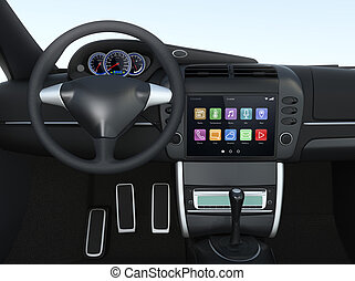 Car console with multimedia system - Smart touch screen...