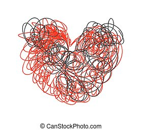 Scribble Heart Drawing - Grunge Scribble Lines Heart Shape...