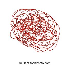 Red Scribble Lines - Abstract Scribble Grunge Messy Lines...