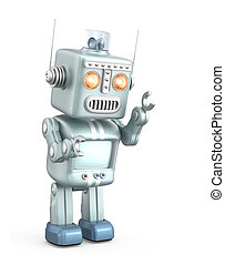 Vintage robot standing in curious Isolated on white...