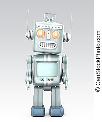 Vintage robot standing in curious Isolated on gray...
