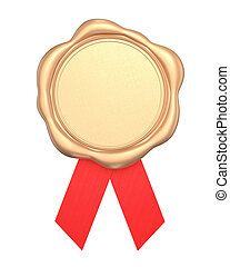 Golden wax seal with blank space isolated on white...