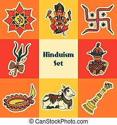 India sketch set - India travel traditional culture hinduism...