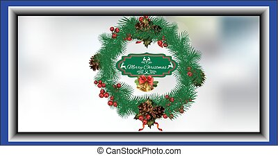 Christmas wreath card with fir cones, with the words Merry...