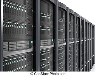 Row of blade server system on white background.