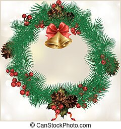 Christmas wreath with fir cones, with the words Merry...