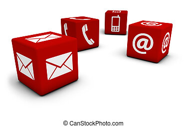 Contact Us Icons On Cubes - Web and Internet contact us...