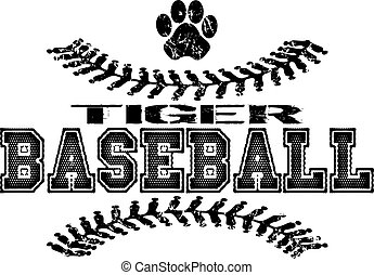 tiger baseball - distressed tiger baseball design with...
