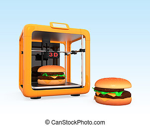 3D printer and hamburger  Concept for printing food solution