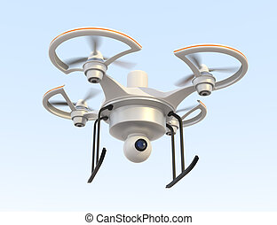 Air drone with camera for security concept.