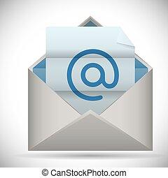 correo, icono, diseño, vector, Ilustración,...