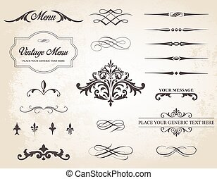 Vintage Vector Label Page Dividers and Borders - This image...