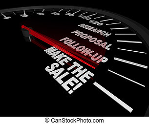 Speedometer - Make the Sale - A speedometer with needle...