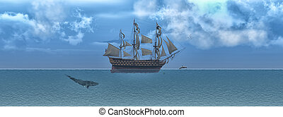 Sailing and sunset - Old sailboat and aquatic animals in 3d