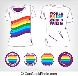 t-shirt with rainbow flag - Gay and lesbian couples, rainbow...