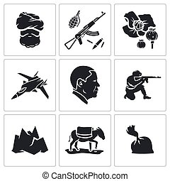 Set of Afghanistan Vector Icons - Vector Isolated Flat Icons...