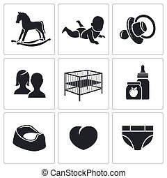 Raising a child Vector Icons Set - Child Vector Isolated...