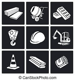 Building Vector Icons Set - Building Vector Isolated Flat...