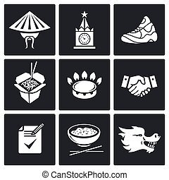 China and Russia Vector Icons Set - Transit of gas from...