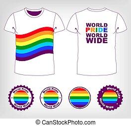 t-shirt with rainbow flag - Gay and lesbian couples, rainbow...