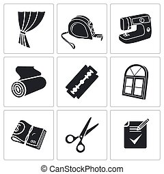 Sewing curtains service Vector Icons Set - Sewing service...